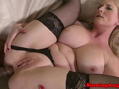 Mature blonde assfucked by black meat