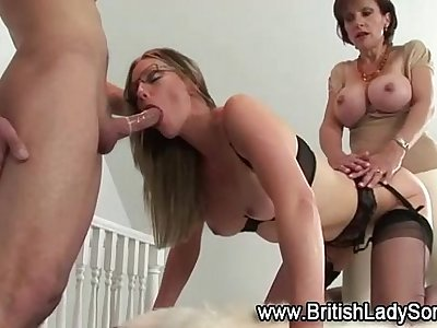 Mature stocking femdoms threeway