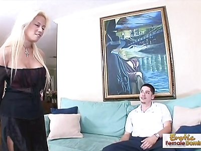 Horny blonde milf fucks her boyfriends friend on the couch